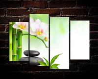 ingrosso tela di olio di bambù-Bamboo Stone Flower, 4 pezzi Stampe su tela Wall Art Oil Painting Home Decor (senza cornice / con cornice)