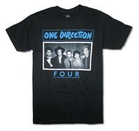 Wholesale one direction red for sale - One Direction Four Band Image Adult Black T Shirt Boy Band Pop Music