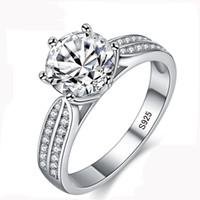 925 sterling silber zirkonia ringe großhandel-100% echte Natürliche 925 Sterling Silber Ringe für Frauen Luxus 8mm Sona Zirkonia Hochzeit Ringe Modeschmuck ZLR006