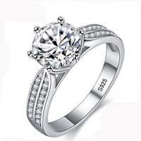imitação anéis de noivado ouro branco venda por atacado-100% Real Natural 925 Anéis de Prata Esterlina para as Mulheres de Luxo 8mm Sona Cubic Zirconia Anéis de Casamento Moda Jóias ZLR006