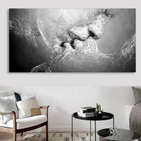 dekoratif çerçeveli yağlı boya tablolar toptan satış-ZOOYOO Love Kiss Oil Painting Canvas Art Paintings For Living Room Wall No Frame Decorative Pictures Abstract Art Painting