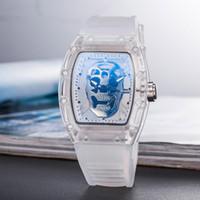 лучшие спортивные часы оптовых-Лучшие Продажи Мужские Роскошные Часы Скелет Полые Призрак Глава Военные Часы Марка Кварцевые Спортивные Наручные Часы Подарки Силиконовые Часы Relojes Mujer