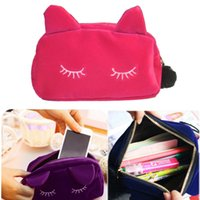 Wholesale cute cosmetic bags sale for sale - Hot sale Cute Portable Cartoon Cat Coin Storage Case Travel Makeup Flannel Pouch Cosmetic Bag Korean and Japan Style