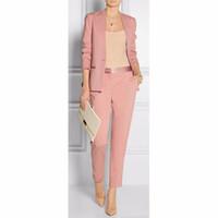 женские брюки оптовых-Весна лето розовый женские деловые костюмы блейзер с брюки женский брючный костюм дамы офис равномерное 2 шт. набор W56