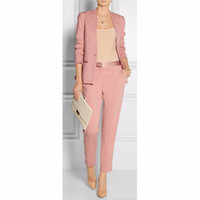 ingrosso blazer button set-Primavera Estate Pink Womens Abiti da lavoro Blazer con pantaloni Pantaloni tuta donna Ladies Office Uniform Set 2 pezzi W56