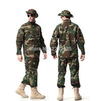 traje de hombre uniforme del ejército al por mayor-Táctico US Army Combat Uniform Men ACU Multicam Woodland Clothing Traje de camuflaje conjuntos Outdoor Jacket + Pants