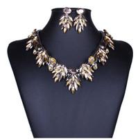 Wholesale chunky rhinestone bracelets - 6 style Womens Crystal Flower Pendant Chunky Collar Statement Necklace Earring