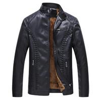 abrigo de invierno casual de negocios para hombre al por mayor-Hombres de la chaqueta de cuero de invierno super caliente forro chaquetas de la PU negro más el tamaño 6XL Business Casual para hombre abrigos de cuero masculino