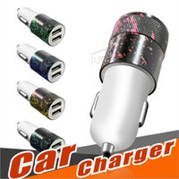 Wholesale Colored drawing Car Charger A Dual USB Port Car Chargers Portable Travel Charger Rapid Auto Adapter for iPhone X plus iPad Samsung