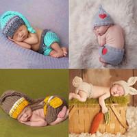 fotos lindas del bebé de la muchacha al por mayor-Bebé recién nacido Traje de punto de ganchillo lindo Outfits Photo Photo Baby Hat Photo Props Chicas recién nacidas Trajes lindos