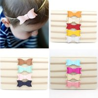 Wholesale Great Wraps - 13pcs lot Leather Bow Cute Nylon Headband with Great Elasticity Stretch Head Band Kid Head Wrap Hair Bow Accessory