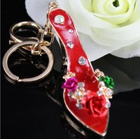 Wholesale Wholesale Rhinestone Heels - Exquisite high heels key ring with rhinestone metal key chain creative handbags accessories car pendant nice gift multicolor
