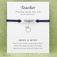 Wholesale teachers day cards for sale - Group buy New Wish Teacher Charm bracelets with Card women Luxury designer Infinity Wristband Bangle For Girls Fashion Jewelry Gift