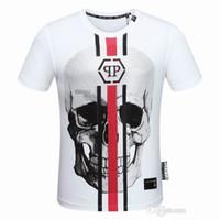 Wholesale T Shirt Printing Korea - 2018 Heavy Metal Back Side Skull Print Korea Pop Up Oversize Short Sleeve Letter skull print Men Cotton T-shirt 458456
