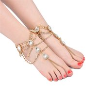 Wholesale birthday crystal ball gift - Wholesale Luxury Crystal Alloy Ankle Bracelets Silver Gold Chain Foot Stainless Steel Jewelry Wedding Party Decorations Birthday Day Gift