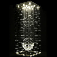 Wholesale square chandelier pendant lamp for sale - Contemporary square crystal chandeliers raindrop flush ceiling light stair pendant lights fixtures hotel villa crystal ball shape lamp
