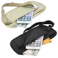 Wholesale travel security money bag - Travel Pouch Waist Belt Bag Compact Sport Jog Run Zippered Hidden Money Security Storage Bag DDA672 Wallet