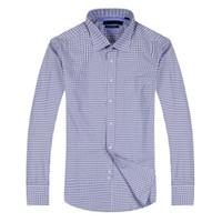 vestidos de primera calidad al por mayor-Top Sale Men shirt turndown Vestido de cuello Slim fit Manga larga de algodón premium Shirting Camisa de los hombres Marca