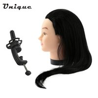 Wholesale training head long hair resale online - 23 quot Black Hairdresser Training Head Dummy Model with Long Hair Hairdressing Styling Practice Head Model with Clamp