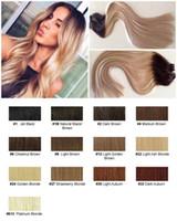brezilya düz saç rengi toptan satış-4 ADET Remy İnsan Saç Uzantıları 80G Düz Bant 16