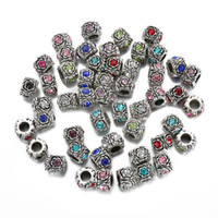 Wholesale rose cube - Rose flower Making Silver European Charms Beads Fit DIY Bracelet Jewelry Tibetan Crystal Spacer Beads XZ20