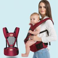 mochilas porta bebé rojo al por mayor-Taburete de cintura de bebé transpirable Cómodo hombros de niños Portador con asiento de cadera Toddler Sling Mochilas 4 colores DHT358