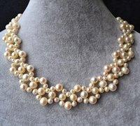 ingrosso perle originali per il matrimonio-Nuovo Arriver White Pearl Jewellery, 16 pollici 5-9mm Collana di perle d'acqua dolce genuini, gioielli fatti a mano da sposa damigella d'onore