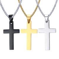 titanium religious crosses 도매-Unisex Crross Necklace 티타늄 남자 종교 쥬얼리 35MM 스테인레스 스틸 크로스 펜던트 목걸이 쥬얼리 도매 무료 배송