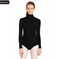 leotardos personalizados al por mayor-Ensnovo Mujeres Sin Mangas Gimnasia Leotardo Ballet Disfraces Lycra Custom Skin Jumpsuit Dancewear Body Suit