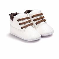 botas de mocasín de invierno al por mayor-2018 New Winter Baby Boots Pu Mocasines de cuero de ante Toddeler Soft Sole recién nacido con cordones Baby Boots