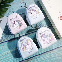 petit porte-monnaie achat en gros de-16 Styles Licorne caricature porte-clés anneau mini sac pièce sac à main sac fermeture éclair petit sac à dos forme enfants femmes cadeau fête favoris NNA549