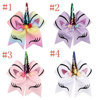 Wholesale rubber chemicals for sale - 2017 New Style Kids Unicorn Horn Hair rope Bowknot Bows Sequin Ponytail Holder Rubber Band Hair Ties Rope C1810183