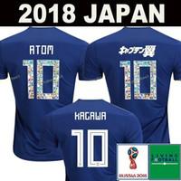 ingrosso camicie honda-2018 coppa del mondo Giappone Maglia da calcio 2018 Giappone Casa blu da calcio Camicia # 10 KAGAWA # 9 OKAZAKI # 4 HONDA uniforme da calcio 2018 coppa del mondo