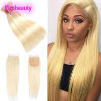 three part closure blonde großhandel-Malaysian Mink 613 # Blonde Gerade Bundles Mit Babyhaarspitze Verschluss 4X4 Mitte Frei Drei Teil 3 Bundlels Mit Verschluss Gerade