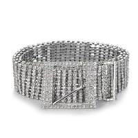 bling taillengürtel großhandel-Neue metallkette gürtel frauen diamante kristall kette gürtel voller strass braut breite bling weibliche kristall taille gürtel zubehör