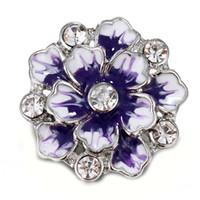 botones de flores de metal al por mayor-10 unids / lote 2018 Nueva Snap Joyería Flor Vintage Metal 18 mm Botones a presión para 18 MM Pulsera para mujeres