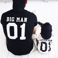 Wholesale full family - Family Matching Outfits Father And Son Matching Clothes Cotton Short Sleeve Number Letter T-shirt Tops Father And Me Clothes Family Look
