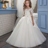 Kaufen Sie Im Grosshandel Hochzeit Blumenmadchen Kleider Elfenbein