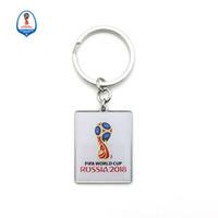 ingrosso souvenir fan di calcio-2018 Russia World Cup Football L'emblema della coppa del mondo Fibbia rettangolare per i fan Decorazione carnevale Portachiavi Souvenir