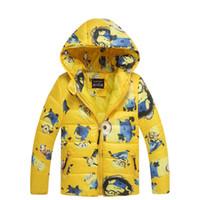 carácter niños abrigos de invierno al por mayor-Abrigos de niño con capucha de alta calidad personaje Winter Boy niños chaquetas abrigo manga larga Wadded ropa de niños Outwear 3-7y