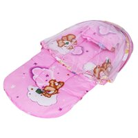 Wholesale Doors Canopy - Summer Baby Crib Netting Mosquito Net Cradle Portable Folding Canopy Cushion Cute Infant Bedding Accessories 0-2T