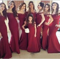 b7bcf3f2d66 Wholesale wine red gold bridesmaid dresses for sale - Red Wine Off Shoulder Bridesmaid  Dresses Split