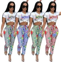 a998242bea14 Fashion T-shirt+pants 2pcs Tracksuit for Women 2018 Hot New Floral Printed Striped  Two-piece Set Casual Sport Suit Short Sleeve Ruffles