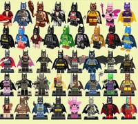 Wholesale Plastic Toy Bat - 100pcs lot Bat Movie joker Figures Complete Set Super Heroes Minifig Bat Man Super Heros Rainbow harely quinn Building Blocks Figure Toys