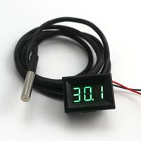 термометр высокой температуры оптовых-Мини Цифровой Термометр Зеленый СВЕТОДИОДНЫЙ Водонепроницаемый Термометр Измеритель Температуры DS18B20 Датчик 1 м Высокая Точность Бесплатная Доставка