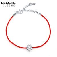 rote fadenkristalle großhandel-ELESHE Marke Zirkonia Kristall Bettelarmband für Frauen Dünne Rote Faden Schnur Seil Mode Silber Armband Armreif Schmuck