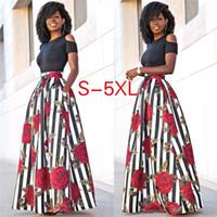 siyah desenli elbise toptan satış-Artı Boyutu 5XL İki Adet Casual Kadın Maxi Elbiseler Kısa Kollu Siyah Üst ile Uzun Çizgili Gül Desen Çiçek Elbise Vestidos CL369