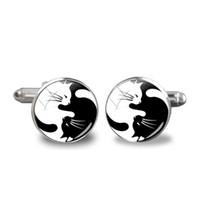 foto schwarze katze großhandel-Neue Yinyang Manschettenknöpfe für Frauen schwarz weiße Katzen Vintage Glas Foto Manschetten Schmuck Geschenke Silber Runde Kuppel Manschette