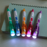 luz da noite de publicidade venda por atacado-Multifuncional noite leitura caneta de iluminação luminosa pequena lanterna caneta esferográfica LED publicidade luz caneta