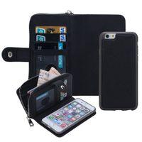 Wholesale Iphone Gel Flip - For iPhone X 8 7 Plus Detachable Leather Wallet Case Removable Purse Pouch Flip Card Back Cover Zipper Cell Phone Soft Gel Cases